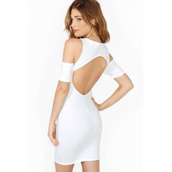 Nasty Gal Dresses - {HP} NEW white open back shoulder bodycon dress