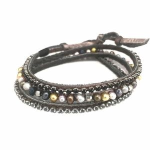 Satya Jewelry Jewelry - Rhinestone & Faux Pearl Wraparound Bracelet