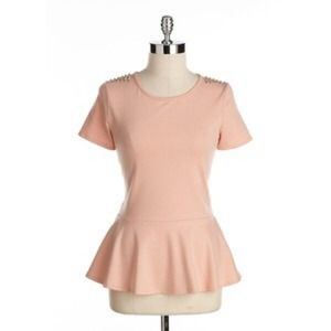 Green Envelope Peach Peplum Top W/ Studs