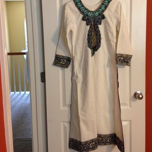 Dresses & Skirts - Long cotton tunic boho.  top with embroidery.