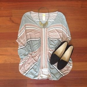 Anthropologie Striped Butterfly Wing Top
