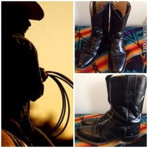 JUSTIN LEATHER BLACK ROPERS 8 1/2 D