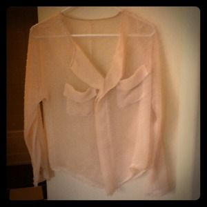 Cream sheer vintage dot top