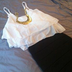 BLACK FRIDAY SALE! White layered chiffon top