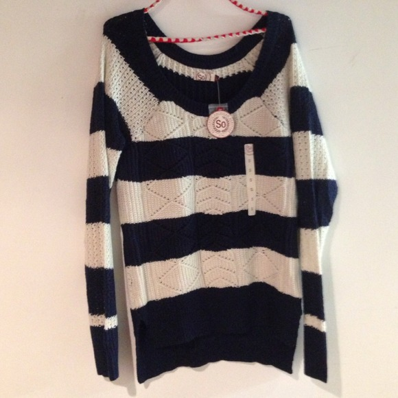 78% off SO Sweaters - Navy blue/white striped sweater from Maria's ...