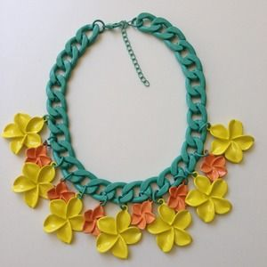Painted metal pave mint yellow coral necklace