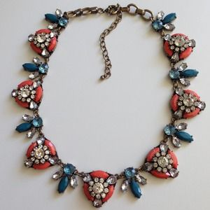 Rust Orange teal crystals FALL statement necklace