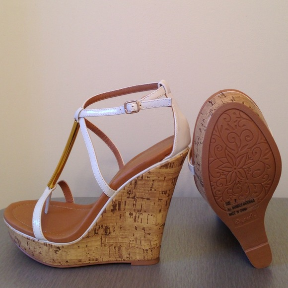 50% off Qupid Shoes - White pleather and cork high heel wedge ...