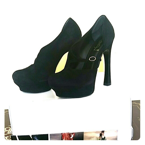 11dce43d SOLD YSL BLACK SUEDE PALAIS 105 PUMPS SIZE 37