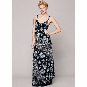 Free People Black & Blue Floral Maxi Dress