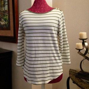 Love 21 3/4 Long Sleeves Stripe Knit Top XS