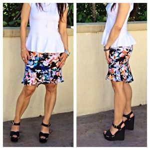  Chic flower print skirt LAST ONE