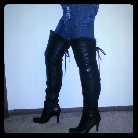 33 report boots the knee thigh high black