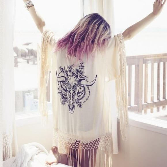 398d457bc Free People Tops | Bohemian Western Style Kimono With Fringe | Poshmark