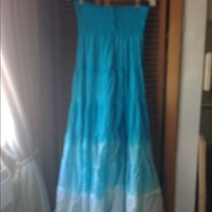 Turquoise blue ombre maxi dress
