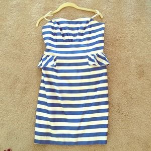 Lilly Pulitzer blue and white striped peplum dress