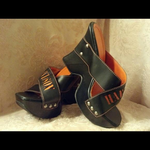 5e383692d Harley Davidson Shoes - Harley Davidson Black Orange Wedge Heels New