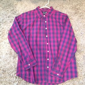 American Eagle Outfitters Pink And Blue Plaid Flannel