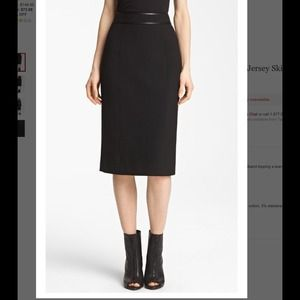 Burberry stretch jersey skirt with patent trim