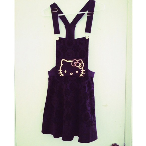 fea5a9917 Sanrio Dresses | New Hello Kitty Gold Black Skater Dress Overalls ...