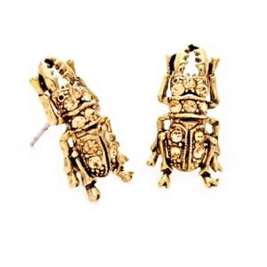 🌎👂🏼Gold Tone Bling Bettie Beetle Post Earrings