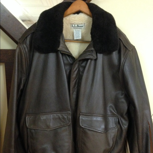 59% off L.L. Bean Jackets & Blazers - L.L. Bean brown leather ...