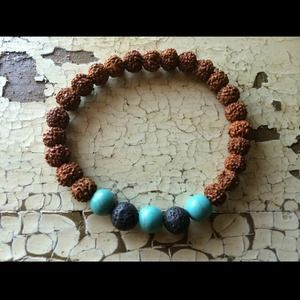 Rudraksha Bead Bracelet – Turquoise & Lava Rock