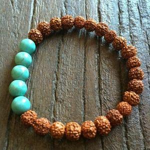 Rudraksha Bead Bracelet – Turquoise (5)