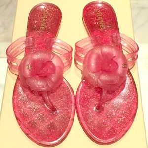 Chanel pink flower jelly sandals