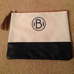 Black Beige Faux Leather Canvas Monogrammed Clutch