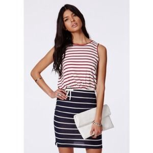 Missguided Striped Navy White And Red Mini Dress