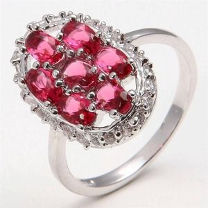 10k white gold plated ruby ring