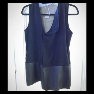 Zara black vest with leather detail and sheer back