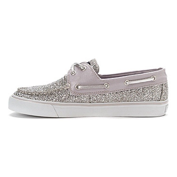 Sperry Silver Glitter Boat Shoes