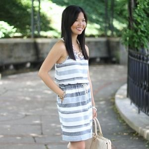 Lou & Grey Dresses & Skirts - Blue and White Striped Tie-Waist Dress