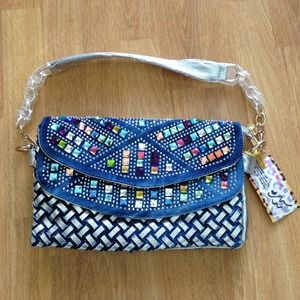Studded weaved denim shoulder bag clutch purse