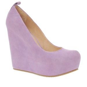 Lavender suede Aldo wedges worn once!