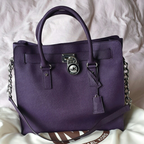 Michael Kors Large Hamilton Purple Silver hardware 116980afc055c