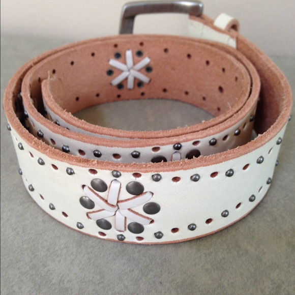 fossil white genuine leather studded belt s from