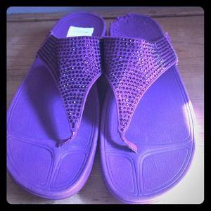 Fit Flop Shoes - Purple Swarovski crystal flip flops