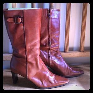 Amalfi Shoes - Lovely cognac brown midcalf tall leather boots