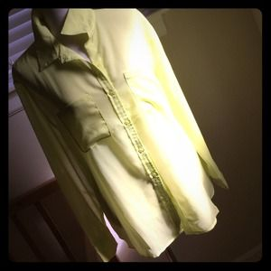 Mossimo Supply Co Tops - Neon yellow gauzy poly button front blouse