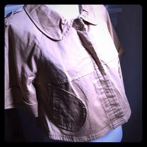 Sugar Lips Jackets & Blazers - Tan cropped military style short sleeve jacket
