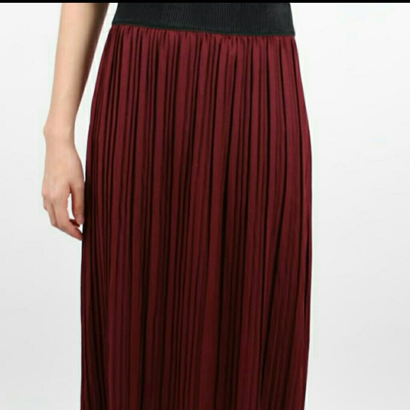 50% off Dresses & Skirts - Pleated burgundy maxi skirt small size ...