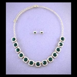 Kristee P Jewelry - Emerald and Gold Statement Set