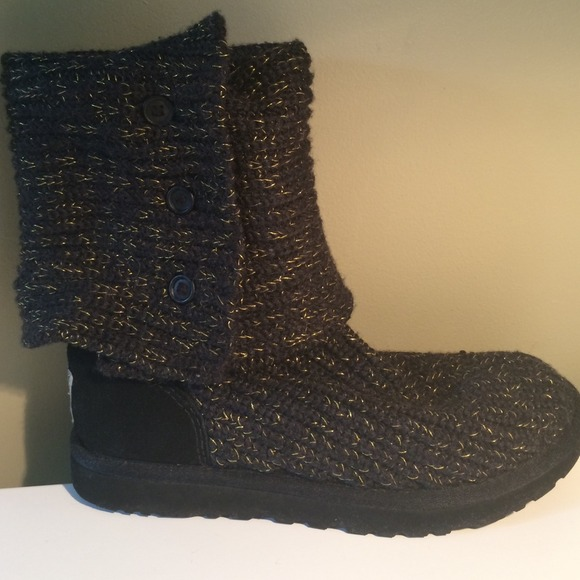 Gold Boots Womens Gold And Black Ugg Cardy Boots