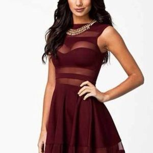 Maroon Sheer Cut Out Dress