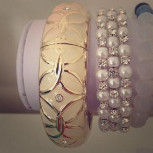Cream & gold wrist cuff w/ crystal embellishments