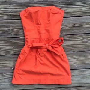 Strapless Orange Dress w/ Bow