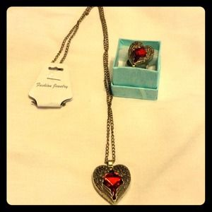 Angel wings & red heart necklace & ring NWOT
